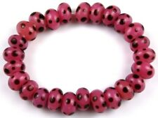 25pcs HANDMADE LAMPWORK BEADS Pink Brown Polka Dot Rondelle Loose Spacer 6x11mm