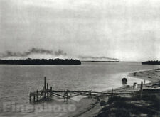 1926 Vintage Seascape ~ KEY WEST FLORIDA Railroad Train Travel Photo Art ~ HOPPE