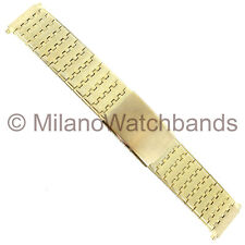 17-22mm Mens Speidel Butterfly Clasp Textured Gold Tone Short Watch Band