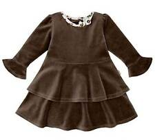 NWT Le Top Seeing Spots Brown w/ Leopard Trim Velour Fall Tiered Dress 2T $44