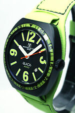MONTRES DE LUXE , BK2503, BLACK AVIO , 43MM, LIME GREEN, MADE IN ITALY