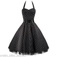 3 PRETTY KITTY ROCKABILLY 50s BLACK WHITE POLKA DOT VINTAGE SWING PROM DRESS