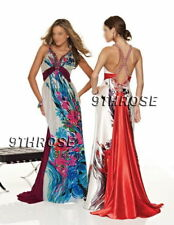 SPARK THE PARTY! FLORAL PRINTS BEADED EVENING/FORMAL WITH TRAIN; RED AU 18/US 16