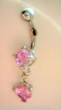 Cz Dangle Navel Belly Ring 14g Pink Heart Prong Set Gem