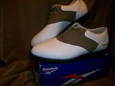 *USED* REEBOK WOMENS SIZE 7.5 GOLF CLEATS SHOES WHITE BROWN
