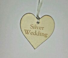 Silver Wedding   Wooden Gift Tag