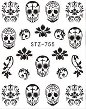 Nail Art Stickers Decals Transfers Black & White Halloween Skulls (STZ755)