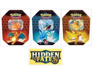 Pokemon Hidden Fates Tins Set of 3 Charizard Gyarados Raichu TCG