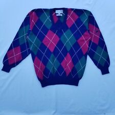 Nick Faldo Pringle Sweater Size Medium Cotton Argyle LS Intarsia