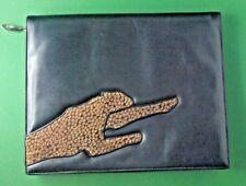 Maud Frizon Clutch Leder schwarz Fell Leopard black leather fur panther jaguar
