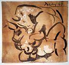 Pablo Picasso Bull Woman Sex Paper Portrait Original Painting. Signed.