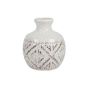 Leander White Ceramic Bottle Vase With Brushed Boho Tribal Design 18cmx13cm