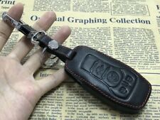 4 Button Black CAR Remote Fob Bag PU Leather Car Key Cover Case For Ford Mustang