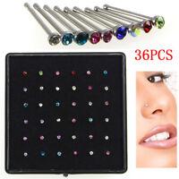 36x Anillo de Nariz Cristal Diamantes de Imitación Joyería Acero Inoxida*QA