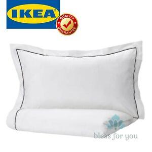 IKEA SILVERTISTEL Duvet Cover and Pillowcase(s) White Dark Gray Twin Full/Queen