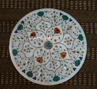 """24"""" Marble Marquetry Malachite Round inlaid Coffee Side Table Top Decor"""