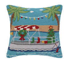 NEW Peking Handicraft Wool Needlepoint Pillow Going Places Christmas Boat Parade
