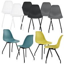 [en.casa]® 2x Design Stühle Esszimmer Stuhl Plastik Kunststoff Stuhlset Retro