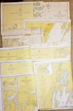 Lot of 9 Vintage Maine Soundings Charts By Coast & Geodetic Survey 1950's