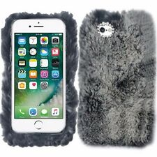 Grey Gray Fluffy Soft Fur Fury Case Cover For Apple iPhone 7