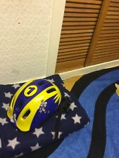MICHELIN boys Youth Bicycle helmet Size 52-56cm Colour Yellow Design Purple Used