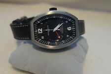 Montres De Luxe Mens GMT Estremo Black Tonneau Leather Watch NEW