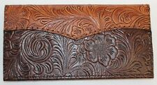 TAN over  CHOCOLATE WESTERN LEATHER CHECKBOOK COVER FREE SHIPPING