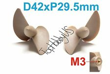 1 Set D42mmxP29.5 Left & Right RC Boat Propellers, M3 Threaded US TH038-01411/15