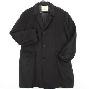 HART SCHAFFNER & MARX Vtg 70s Black CASHMERE Long Trench Overcoat Jacket Men's L