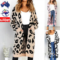 Women Knitted Leopard Print Sweater Coat Pocket Long Sleeve Cardigan T-shirt Top