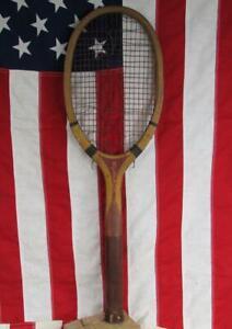 Vintage 1910s Wright & Ditson Wood Tennis Racquet Myopia Club Boston Antique
