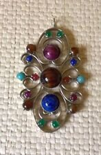 vintage beautiful hand crafted  real agate semi precious gem stones pendant