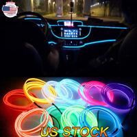 DC 12V Car Party Interior EL Wire Neon Glow Decorative Light Strip 2m/3m/5m US
