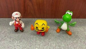 "Lot of 3 Video Game Character PVC Figures - Pac-Man, Yoshi, Mario - 1.5"" - 2.5"""