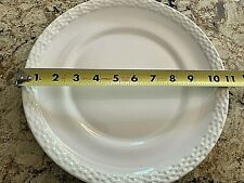 "Longaberger Pottery - 11"" Ivory Dinner Plate - Basket Weave - (2)"