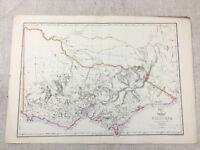 1857 Antik Map Of Australia Victoria Alte Hand- Farbig 19th Jahrhundert Original