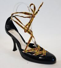 Ladies Shoes Designer Michel Perry Size 37 Black Leather Tartan Ribbon Heels