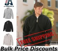 J. America Mens Epic Sherpa Quarter-Zip Sweatshirt Blank Plain 8454 up to 3XL