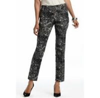 Ann Taylor LOFT Printed Cropped Pants Marisa Fit Mid Rise Stretch Career Women 4