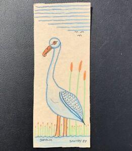 Pennsylvania Outsider Artist Jack Savitsky Drawing . Standing Swan. Signed. 1989