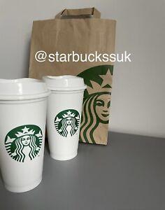X2 Starbucks White Reusable Hot Cup
