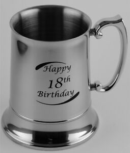 18th Birthday Stainless Steel Beer Mug - Engravable - Gift