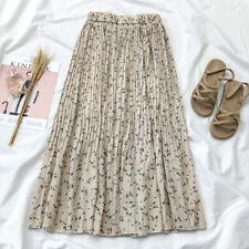 Womens Ladies Chiffon Floral Skirt High Elastic Waist Pleated A-Line Midi Casual