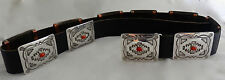Navajo Mabel Kee Stamped Sterling Silver Coral Concho Belt