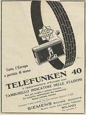 W6054 Radioricevitore TELEFUNKEN 40 - Siemens - Pubblicità 1930 - Advertising