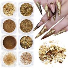 Holographic Nail Glitter Flakes Acrylic Nails Powder Nail Art Supplies Gold