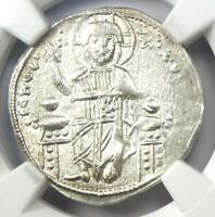 Andronicus II and Michael IX AR Basilicon Coin 1294-1320 AD - Certified NGC AU