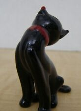 Miniature Black Glass Cat with red nose and collar