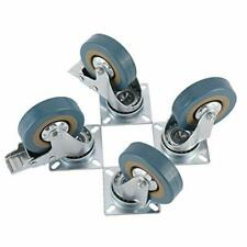 """4 x 3""""(75 Mm)Casters Wheels Brakes Pvc Rubber Swivel Caster 360 Degree Top Plate"""