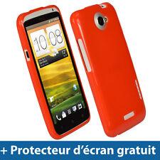 Rouge Étui Housse Case Brillant TPU Gel pour HTC One X + Plus S720e Android 1